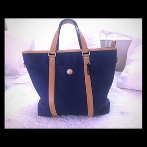Coach navy canvas and leather hand luggage